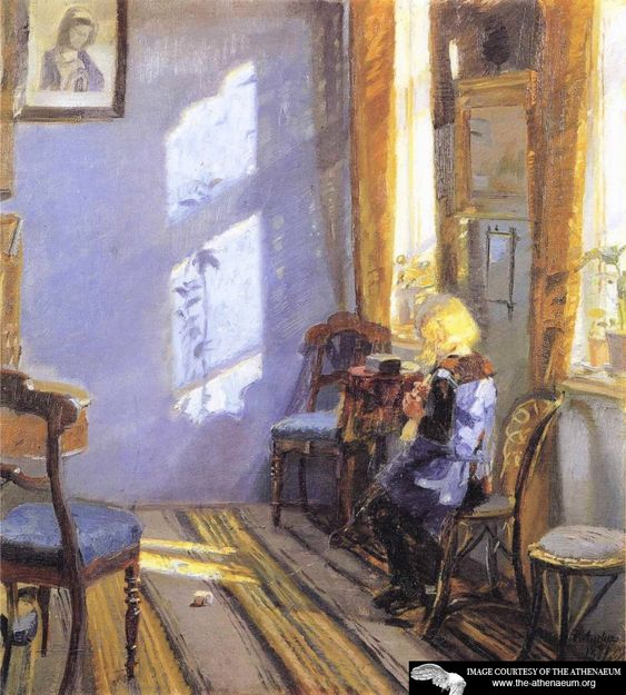 Sunlight in the Blue Room. Anna Ancher - 1891. Painting - oil on canvas.
