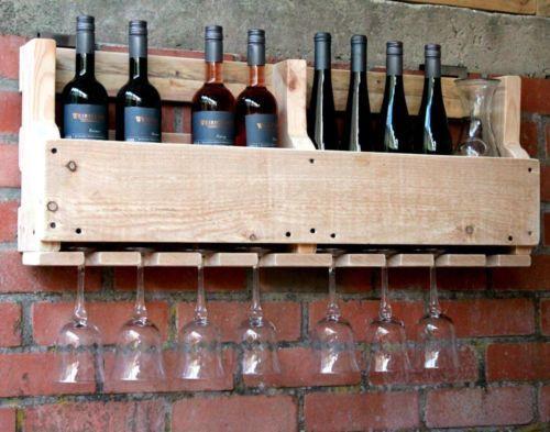 Weinregal-Wein-Glas-Glaeserhalter-Flaschenregal-90-cm-breit-Holz-natur