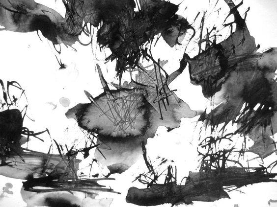 24x32cm Landschaft Zen Abstrakt Modern Tusche Zeichnung Aquarell Original Kunst