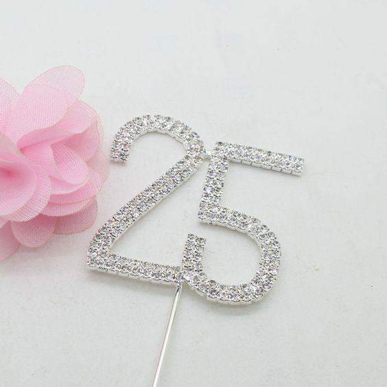 25 Number Crystal Rhinestone /25th Anniversary Cake Topper (FAUX Diamond /Silver Diamante)