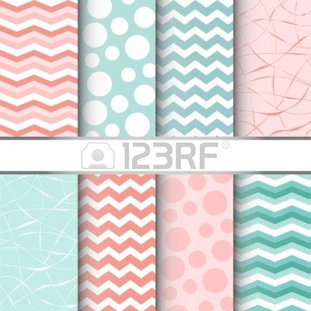 Set van blauwe pastel en roze jumbo polka dots boerenbont en chevron naadloze patronen Vector Stockfoto