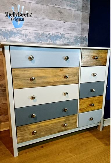 Modern Upcycled Chest Of Drawers In A Scandinavian Style With A Neutral Base Colour A M Diy Home Office Furniture Upcycled Furniture Refurbished Furniture Diy