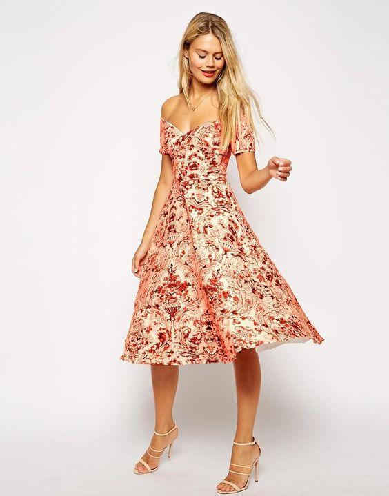 ASOS | ASOS Porcelain Print Bardot Midi Prom Dress at ASOS
