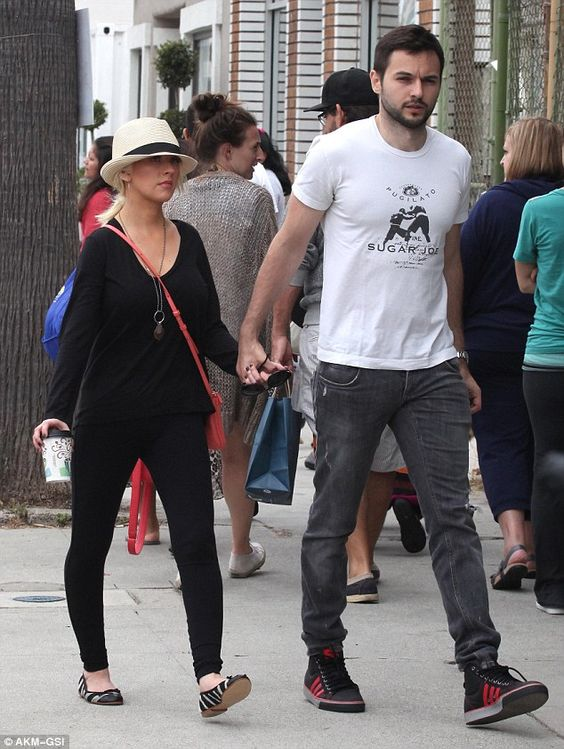 Cute couple: Christina Aguilera and boyfriend Matthew Rutler enjoyed a casual outing in Venice, California on Sunday, window shopping along trendy Abbot Kinney