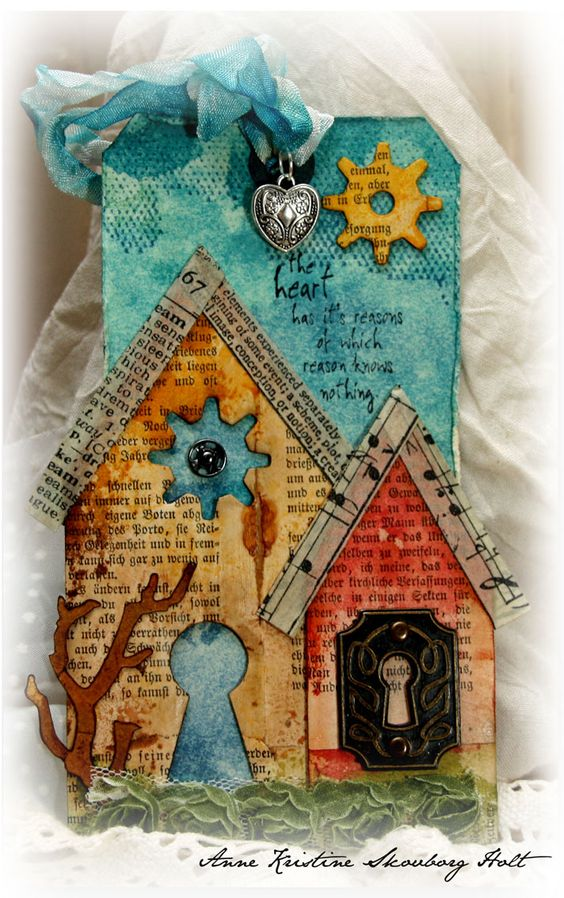 Anne's paper fun: Grunge Monday # 5  I like the colors and bird house pieces out of books and sheet music.