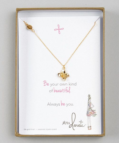 Look at this Gold Miss Darcie Flower Pendant Necklace on #zulily today!