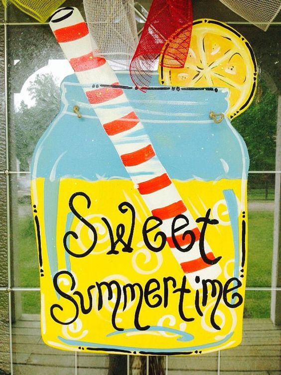 Lemonade Mason Jar Door Hanger by HillbillyHandcrafted on Etsy