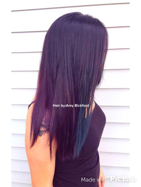 Pravana color: Black fading down to amethyst with a peek a boo teal by Amy Bickford. Paducah, KY