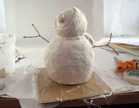 Paper Mache Snowman Plastic Bag Stuffed With Newspapers