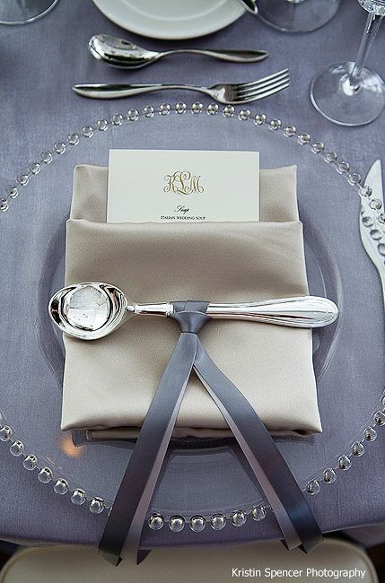Beautiful elegant looking place setting (light purple - but imagine it in grey)