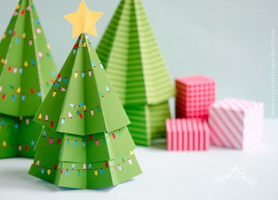 DIY Christmas Decor Christmas Tree Favor Box by PaperBuiltShop