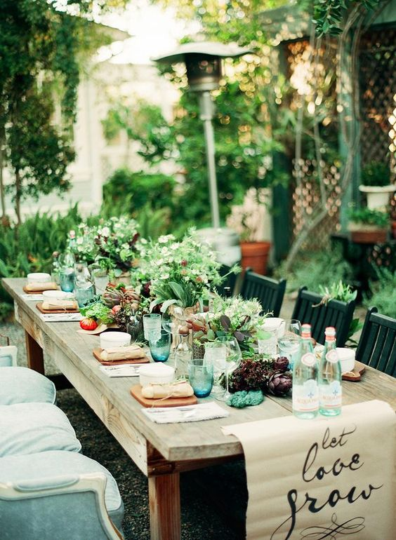 Rustic spring summer wedding table set up.