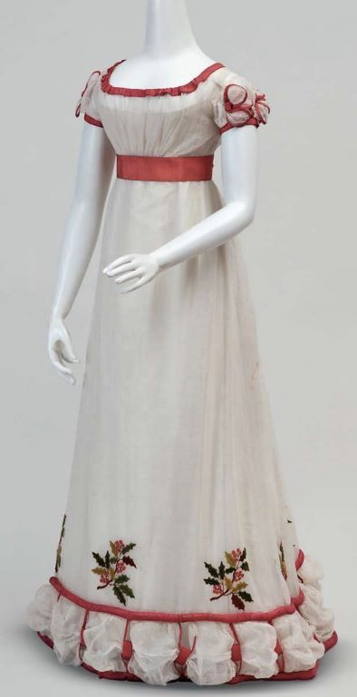 White late Regency era gown with red trim