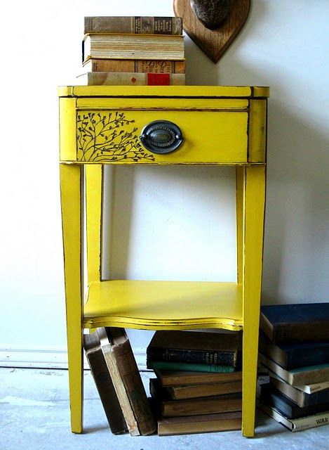 To do wood burning on painted furniture incredible color for Yellow painted table