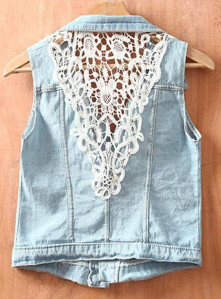 Blue Single Breasted Ripped Sequined Lace Denim Coat