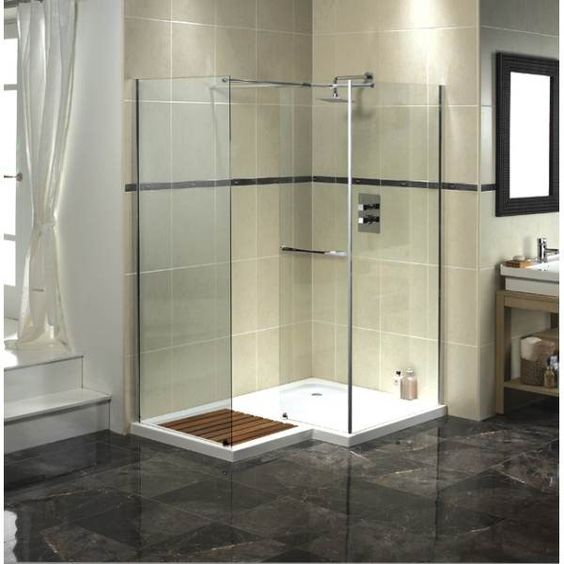 Aqualux aquaspace square walk in shower enclosure tray for Walk in shower tray