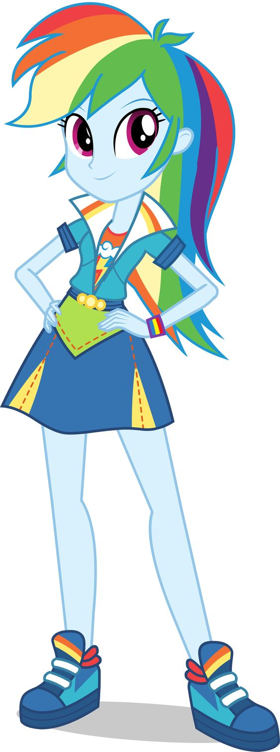 """Rainbow Dash in """"Equestria Girls Friendship Games."""" In the new EG film, Canterlot High meets its rival school, Crystal Prep Academy, in a competition that's a long-standing tradition — the Friendship Games. Sunset Shimmer is tasked with keeping magic out of the games to avoid the appearance of impropriety while she and her friends compete against Crystal Prep's top students led by someone with an equal amount of interest in Equestrian magic — this world's TWILIGHT SPARKLE! #MLP…"""