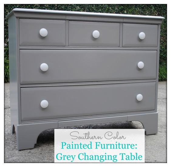 Southern Color: Painted Furniture: Grey Changing Table - this is the same furniture piece I'm thinking about how to do.