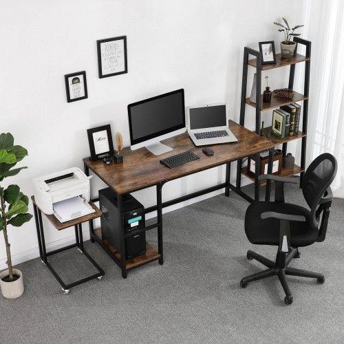 Side Shelf Computer Desk Computer Desk In 2020 Computer Desk Design Desk In Living Room Home Office Setup