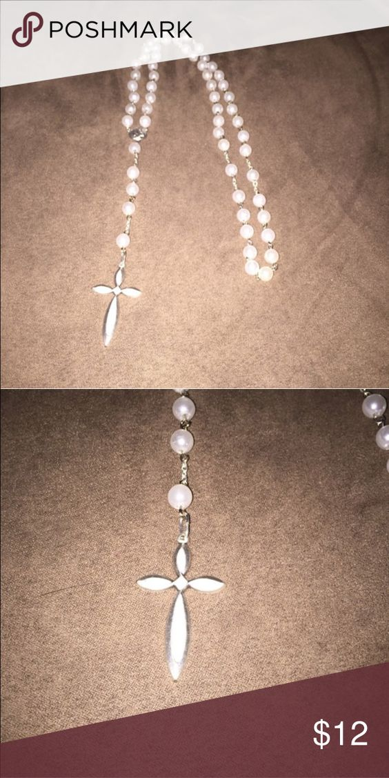 Handmade Glass Pearl Rosary 6mm glass pearl with matching cross Jewelry Necklaces
