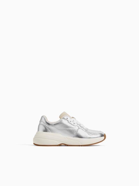 Metallic Sneakers New In Girl 5 14 Yrs Kids Zara Australia Metallic Sneakers Sneakers Kid Shoes