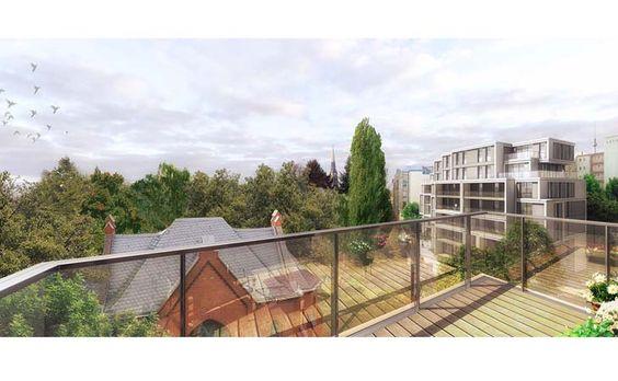 Die Eigentumswohnungen  im 5. und 6. Stock des Projekt's The Garden Living der ESCON GmbH bieten eine goße umlaufende Terrasse.