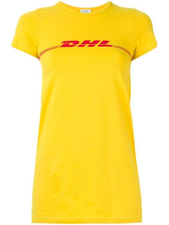 ヴェトモン(VETEMENTS)半袖Tシャツ YELLOW AND RED STRETCH COTTON DHL PRINT T-SHIRT