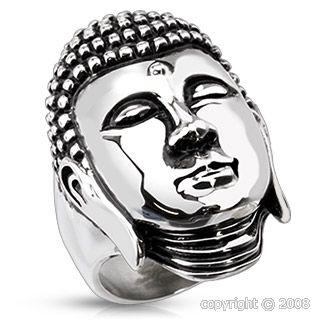 """Bague ethnique """"bouddha"""" acier 316L"""