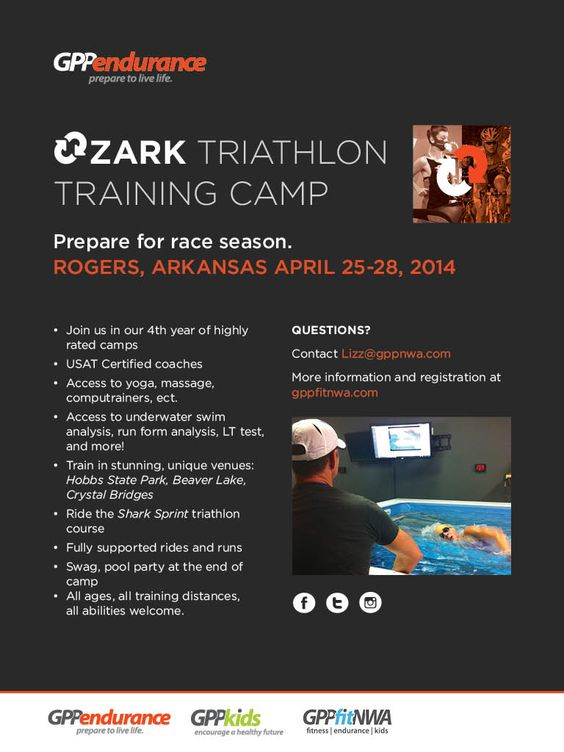 Premier Triathlon Training Camp right here in the Foothills of the Ozark Mountains....Awesome Venues for training...