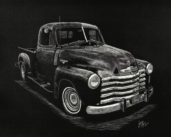 """""""Chevy"""" scratchboard SOLD"""