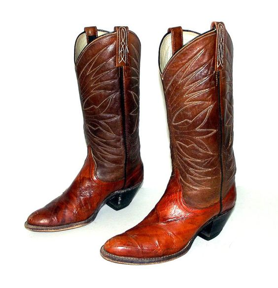 Two tone Brown Eel Leather Cowboy boots size by honeyblossomstudio