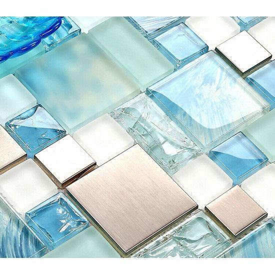 Silver Stainless Steel Tile Blue Glass Backsplash Beach Themed