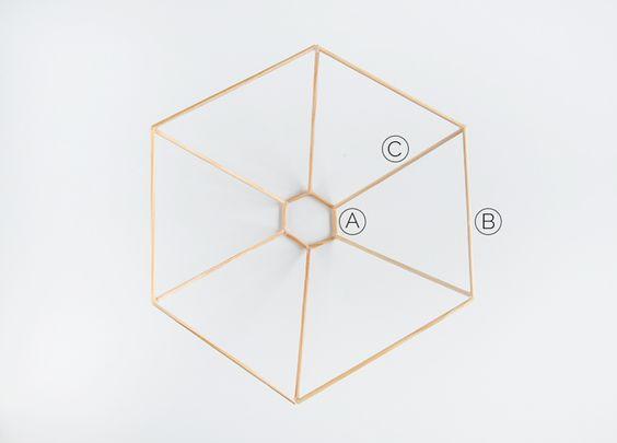 Como fazer luminária geométrica - colando palitos