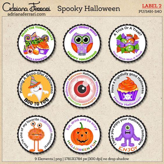 Spooky Halloween ~ Label 2 by Adriana Ferrari  Scrap and Tubes