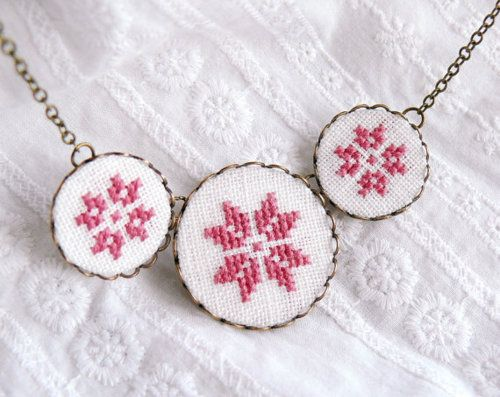 cross stitch necklace: