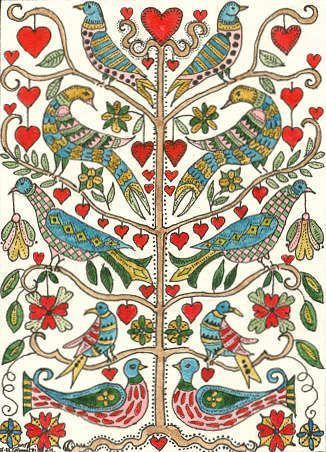 Art: FRAKTUR TREE OF LIFE by Artist Theodora Demetriades would make a great embroidery pattern