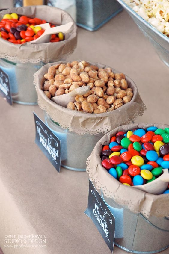 use kraft bags to line metal pails - use edge paper punches to create this look with the bags