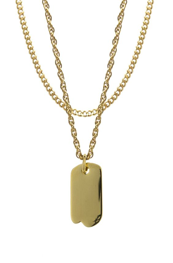 Mister Micro Tag Necklace - Gold