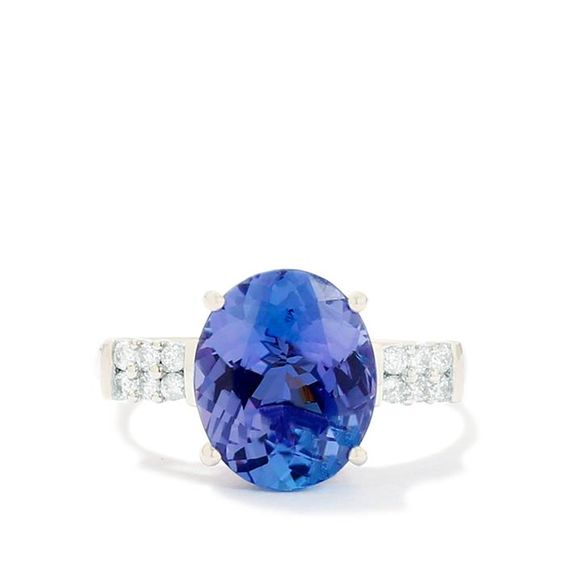 Tanzanite Ring with Diamond in 14k White Gold 3.89cts