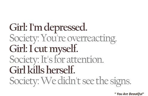 "So sad! I haven't ever had a problem with self harm but depression makes itself show in so many ways and when people say ""it's for attention"" I feel so upset on behalf of those people who feel the only way to deal with their inner pain is to manifest it physically"