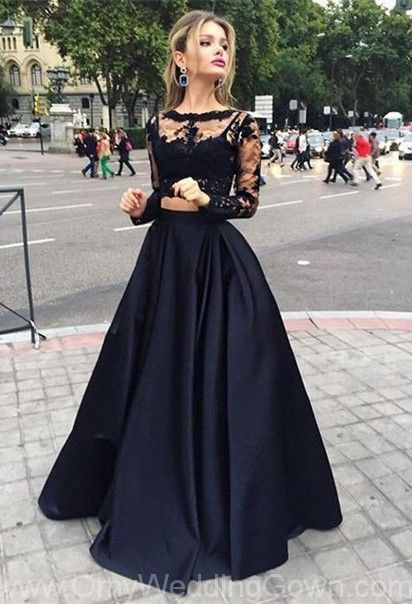 Two Pieces Long Sleeves Illusion Black Lace Prom Dresses | omyweddinggown.com