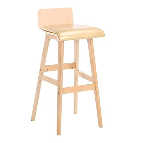 Bar Stools Solid Wood Stool Bar Stool With Backrest Breakfast Stool Pu Leather High Stool Wo Modern Style Bar Stools Bar Table And Stools Breakfast Bar Chairs