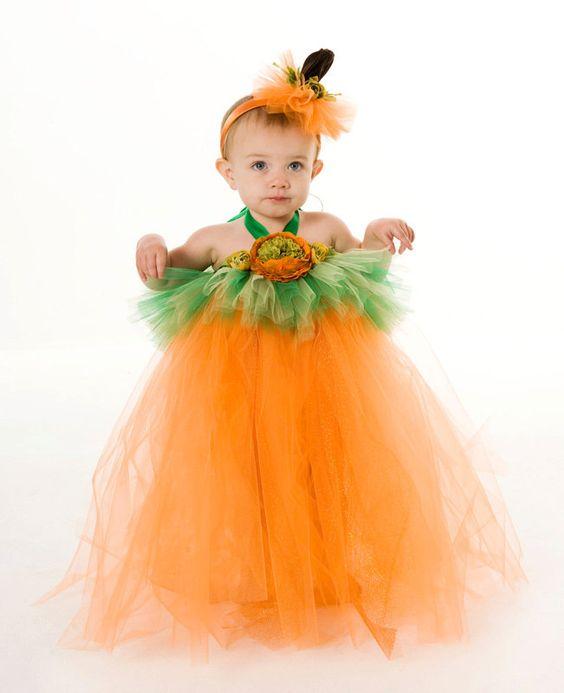 Tutu Dress - Pumpkin Halloween Costume - Orange & Green - Gorgeous Gourd -12 Month to 2 Toddler Girl. $55.00, via Etsy.