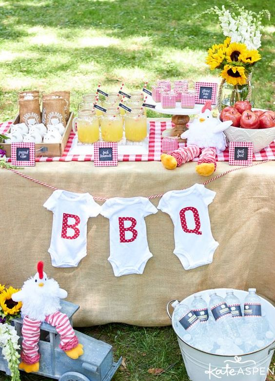 Summer outdoors and barbecue on pinterest for Baby shower bbq decoration ideas