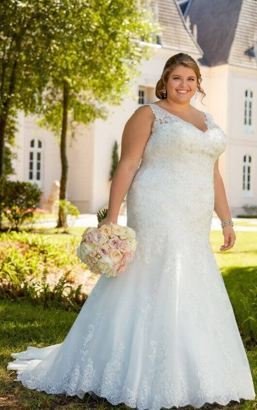 db17bd934d8 6525+ Lace Fit and Flare Plus Size Wedding Gown with Silver Beading by  Stella York