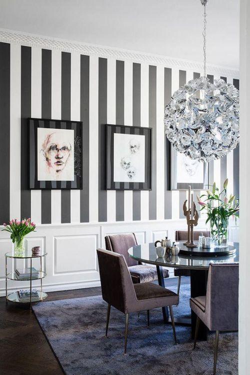 Modern Dining Room With Striped Wallpaper Diningroom Diningroomideas Decor Stripes Chandelier Black White Dining Room Walls Living Room Decor Home Decor