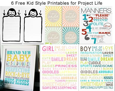 6 Free Kid Style Printables for Project Life: Scrapbooking Project Life, Project Life Printables, Baby Printables, Craft Projects, Printables Project Life, Kid Styles, Free Printables, Fonts Printables Templates