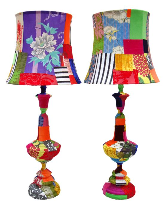 Pair of Tall Multicolored lamps Pair of vintage table lamps wrapped in assorted vintage French cottons, velvets and English and Japanese silks, can take up to 100w bulb.
