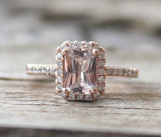 Radiant Cut Champagne Peach Sapphire Diamond  Halo by Studio1040, $2140.00