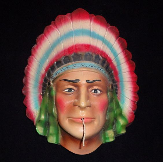 Vintage Chief with full Headdress String Holder